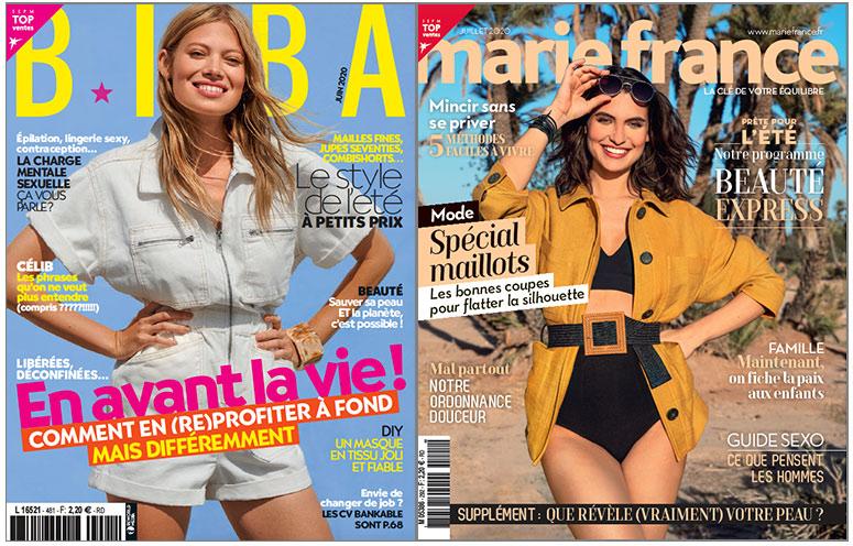 Les magazines BIBA et Marie France en kiosques