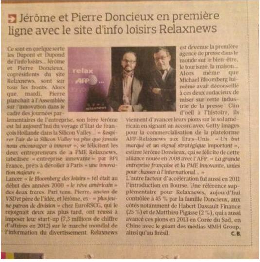Relaxnews a les honneurs du Figaro et du Président de la République